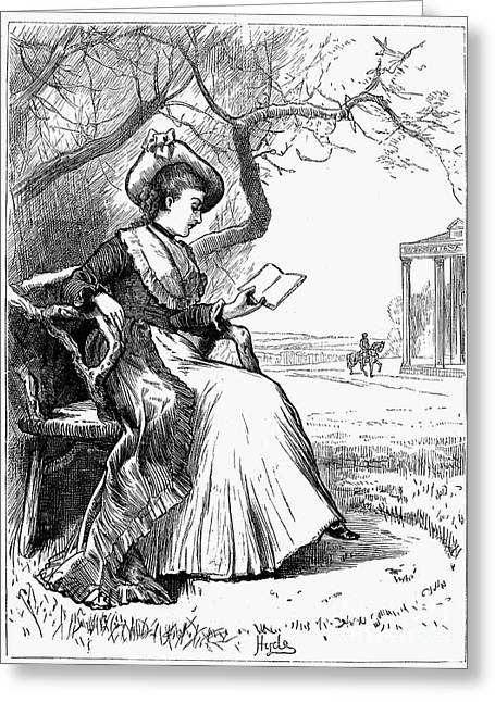1876 Greeting Cards - Woman Reading, 1876 Greeting Card by Granger