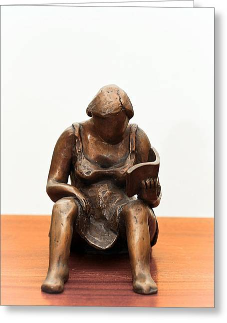 Book Sculptures Greeting Cards - Woman reading a book bronze sculpture dress legs hands pages hair shoulders Greeting Card by Rachel Hershkovitz