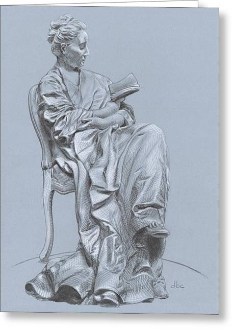 Graphite Paintings Greeting Cards - Woman Reading Greeting Card by David Clemons