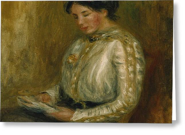 Sitting In A Chair Greeting Cards - Woman Reading  Greeting Card by Pierre Auguste Renoir