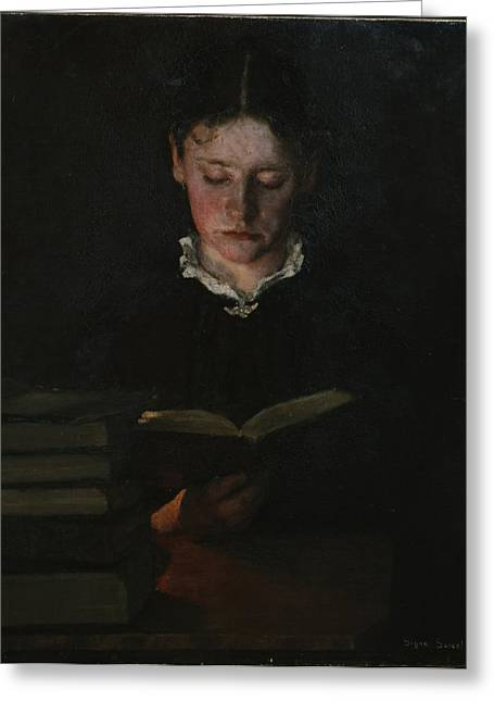 Oil Portrait Photographs Greeting Cards - Woman reading Greeting Card by Signe Scheel