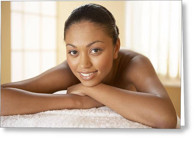 Clients Greeting Cards - Woman Relaxing At A Beauty Spa Greeting Card by Adam Gault