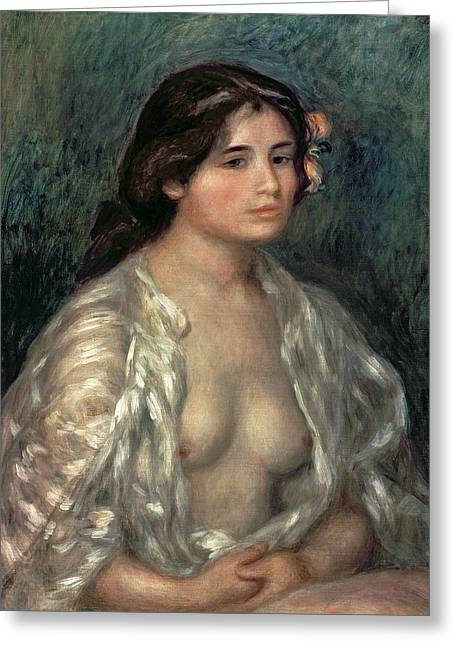 Slip Greeting Cards - Woman Semi Nude Greeting Card by Pierre Auguste Renoir