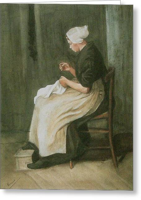 Idealized Greeting Cards - Woman Sewing Greeting Card by Vincent Van Gogh