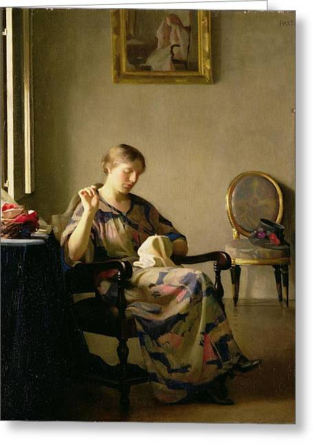 Interior Scene Photographs Greeting Cards - Woman Sewing Greeting Card by William McGregor Paxton