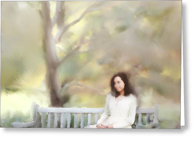 Woman Sitting on Park Bench Greeting Card by Stephanie Frey