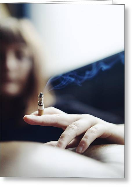 Carcinogenic Greeting Cards - Woman Smoking Greeting Card by Cristina Pedrazzini