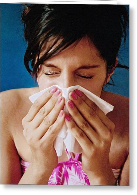 Allergic Greeting Cards - Woman Sneezing Greeting Card by Hannah Gal