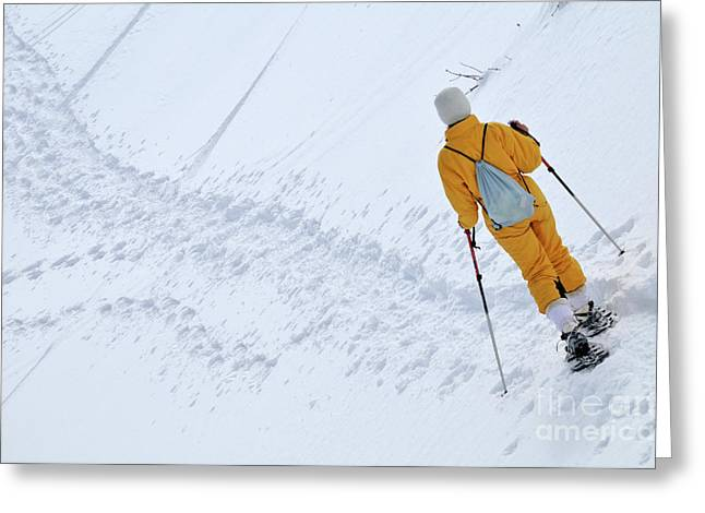 Only Mature Women Greeting Cards - Woman snowshoeing Greeting Card by Sami Sarkis
