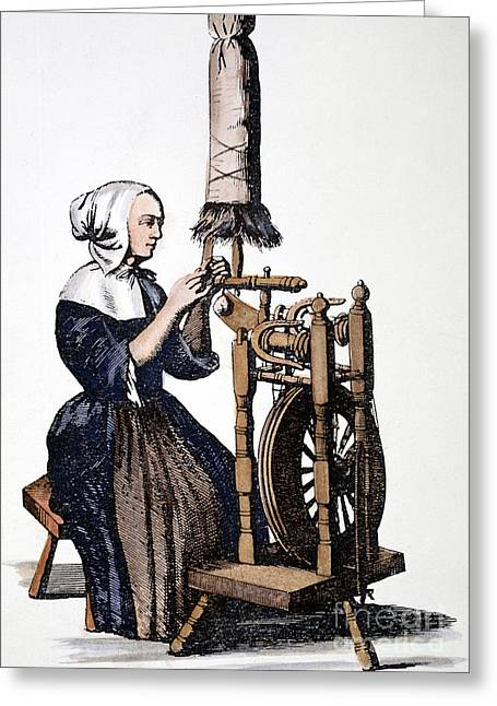 Distaff Greeting Cards - Woman Spinning Greeting Card by Granger