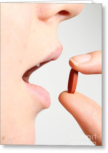 Medication Greeting Cards - Woman Taking Ibuprofen Greeting Card by Photo Researchers, Inc.