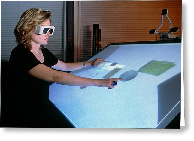 3-d Glasses Greeting Cards - Woman Using A 3-d Computer-aided Design System Greeting Card by Volker Steger
