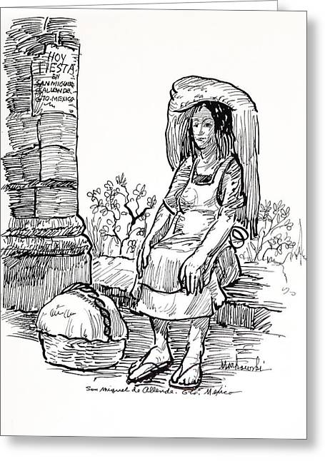 Apron Drawings Greeting Cards - Woman Vendor Greeting Card by Bill Joseph  Markowski
