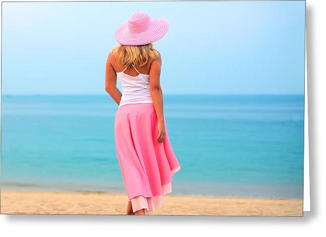 Sun Hat Greeting Cards - Woman walking Greeting Card by MotHaiBaPhoto Prints