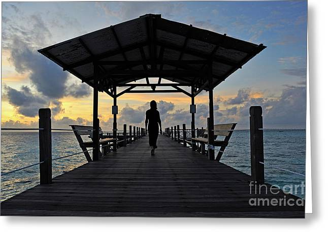 Solitariness Greeting Cards - Woman walking on wooden jetty at sunrise Greeting Card by Sami Sarkis