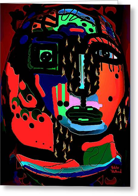 Eyebrow Mixed Media Greeting Cards - Woman Warrior Greeting Card by Natalie Holland