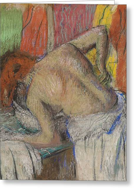 Feminine Pastels Greeting Cards - Woman washing her back Greeting Card by Edgar Degas