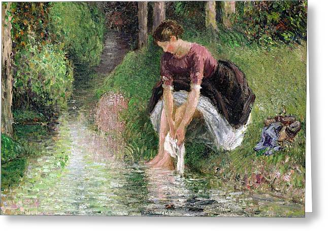 Signature Greeting Cards - Woman Washing Her Feet in a Brook Greeting Card by Camille Pissarro
