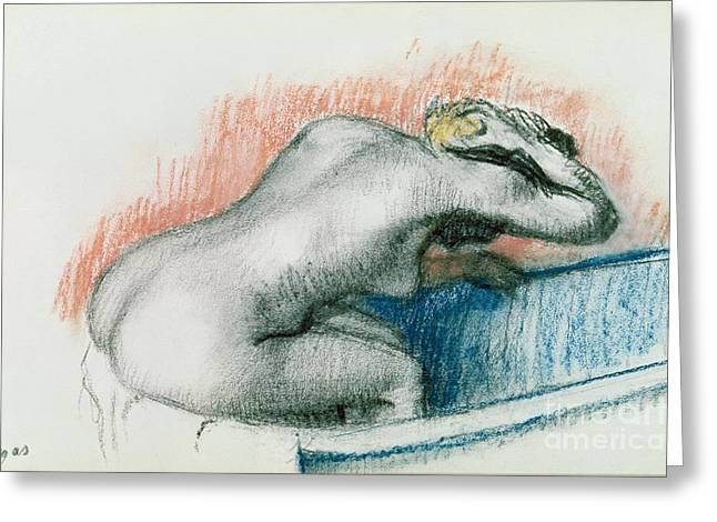 Signature Pastels Greeting Cards - Woman Washing in the Bath Greeting Card by Edgar Degas
