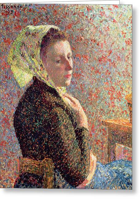 Add Greeting Cards - Woman wearing a green headscarf Greeting Card by Camille Pissarro