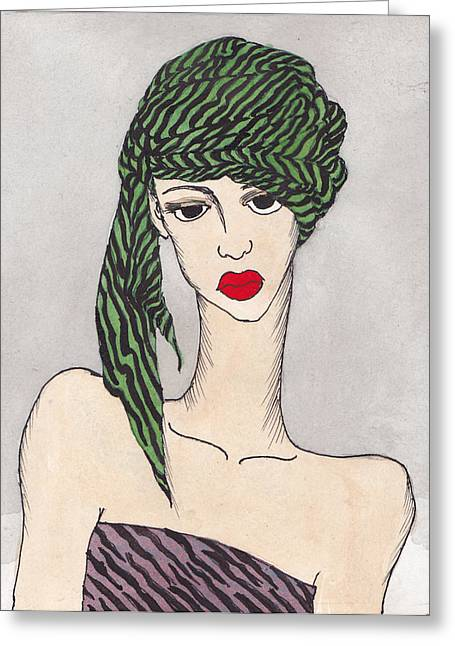 Striped Tapestries - Textiles Greeting Cards - Woman Wearing a Turban Greeting Card by Dorrie Ratzlaff