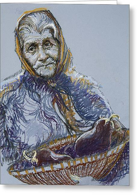 Blue Pastels Greeting Cards - Woman with a Basket of Eggplant Greeting Card by Ellen Dreibelbis