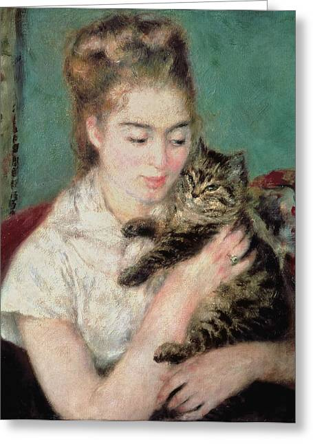 Cat Woman Greeting Cards - Woman with a Cat Greeting Card by Pierre Auguste Renoir