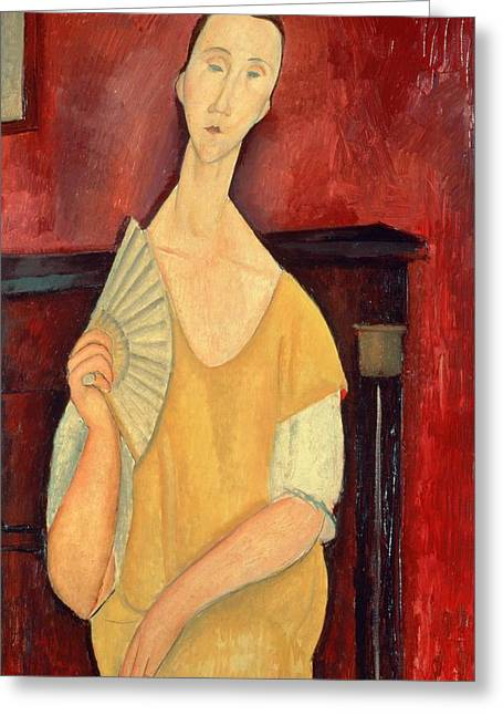 Amedeo (1884-1920) Greeting Cards - Woman with a Fan Greeting Card by Amedeo Modigliani