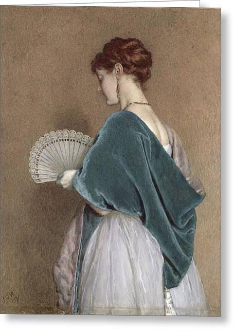 Watson Greeting Cards - Woman with a Fan Greeting Card by John Dawson Watson