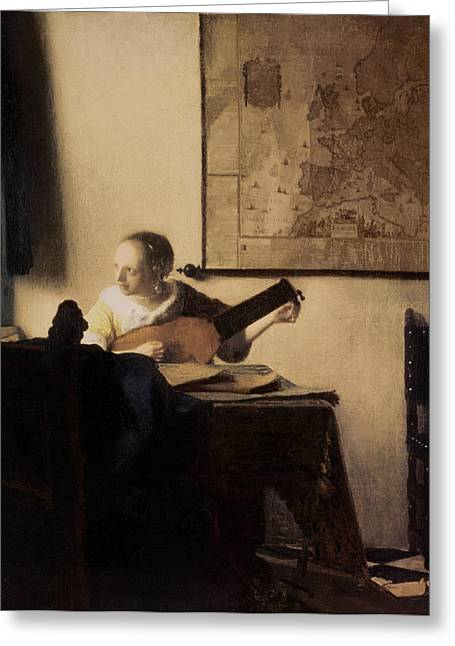 Pensive Greeting Cards - Woman with a Lute Greeting Card by Jan Vermeer