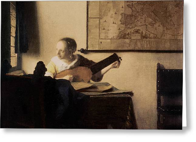 Woman with a Lute Greeting Card by Jan Vermeer