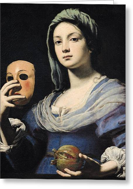 Fidelity Greeting Cards - Woman with a Mask Greeting Card by Lorenzo Lippi