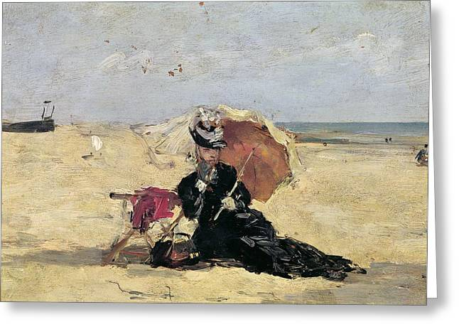L.a. Woman Greeting Cards - Woman with a Parasol on the Beach Greeting Card by Eugene Louis Boudin