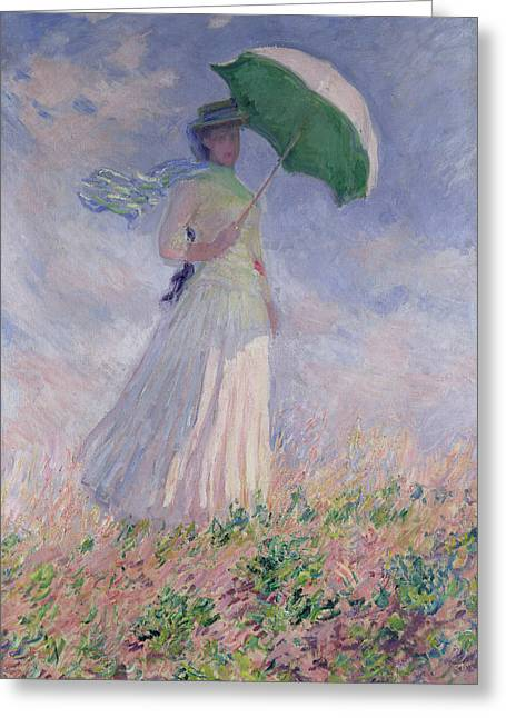Women Paintings Greeting Cards - Woman with a Parasol turned to the Right Greeting Card by Claude Monet