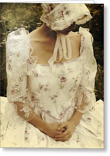 Period Greeting Cards - Woman With A Period Dress Greeting Card by Joana Kruse