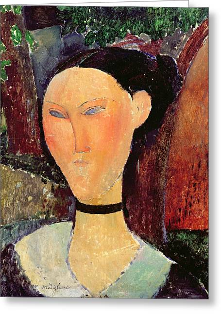 Clemente Paintings Greeting Cards - Woman with a Velvet Neckband Greeting Card by Amedeo Modigliani