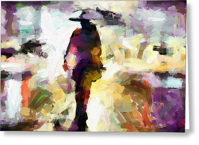 Raining Greeting Cards - Woman with an umbrella TNM Greeting Card by Vincent DiNovici