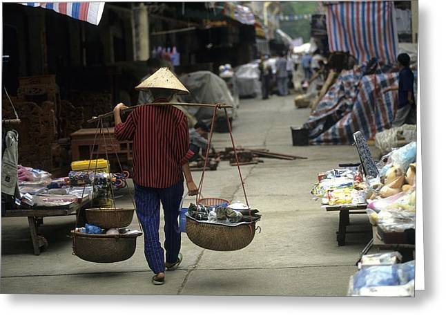 Food Vendors Greeting Cards - Woman With Bamboo Hat Carries Balanced Greeting Card by Raymond Gehman