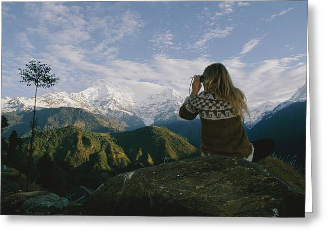 Tourists And Tourism Greeting Cards - Woman With Binoculars Greeting Card by Skip Brown