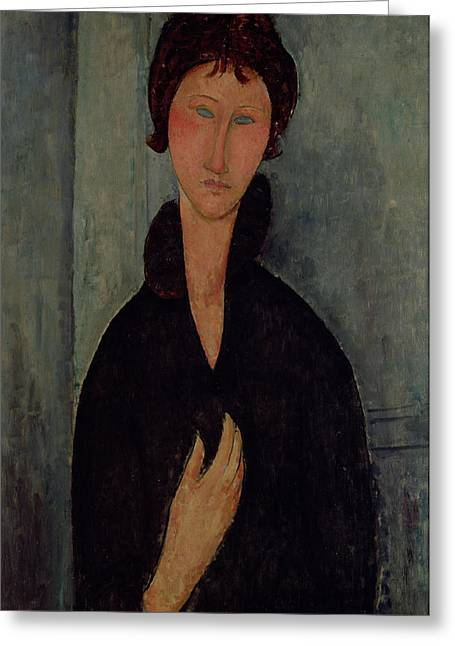 Amedeo (1884-1920) Greeting Cards - Woman with Blue Eyes Greeting Card by Amedeo Modigliani