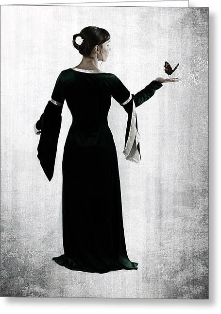 Female Silhouette Greeting Cards - Woman With Butterfly Greeting Card by Joana Kruse
