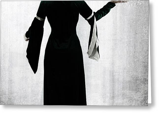 woman with butterfly Greeting Card by Joana Kruse