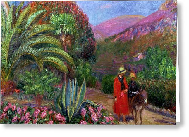 On A Walk Greeting Cards - Woman with Child on a Donkey Greeting Card by William James Glackens