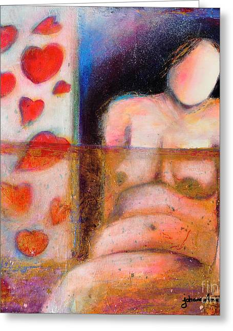 With Love Mixed Media Greeting Cards - Woman with Curves and Beautiful Greeting Card by Johane Amirault