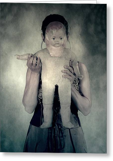 Ghostly Greeting Cards - Woman With Doll Greeting Card by Joana Kruse
