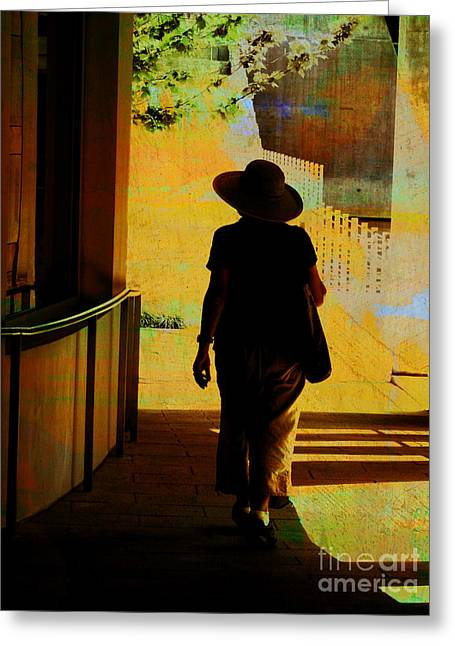 Green And Yellow Abstract Greeting Cards - Woman with Hat Greeting Card by Ann Powell