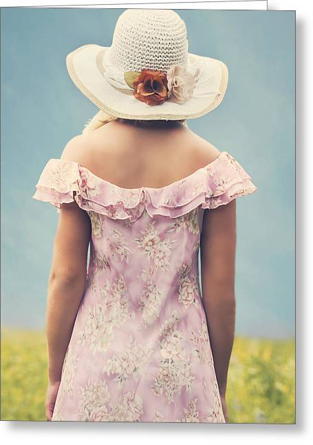 Sun Hat Greeting Cards - Woman With Hat Greeting Card by Joana Kruse