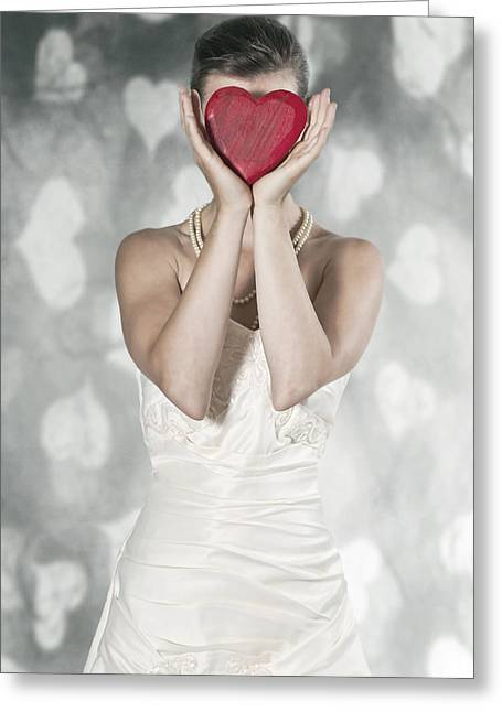 Elegant Bride Greeting Cards - Woman With Heart Greeting Card by Joana Kruse
