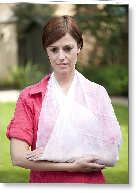 Mid Adult Women Greeting Cards - Woman With Her Arm In A Sling Greeting Card by