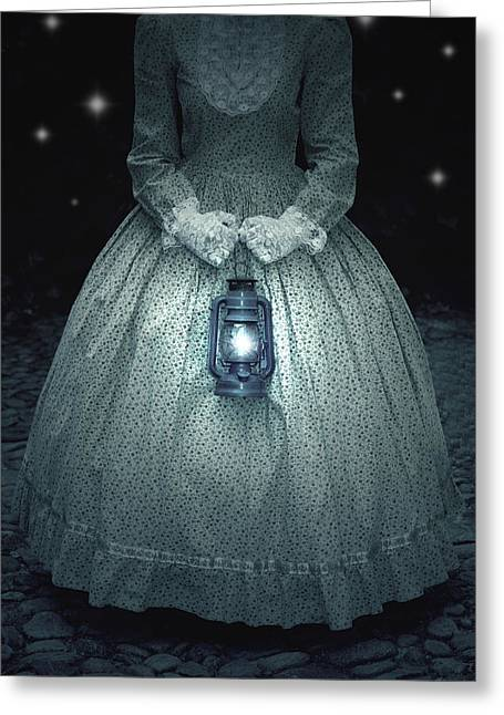 Period Photographs Greeting Cards - Woman With Lantern Greeting Card by Joana Kruse